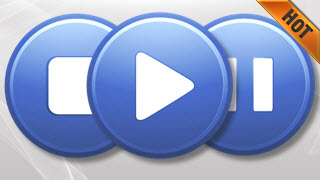 Media Player Buttons Suave Blue