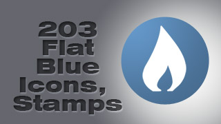 Flat Blue 128 px Icon Stamps Collection