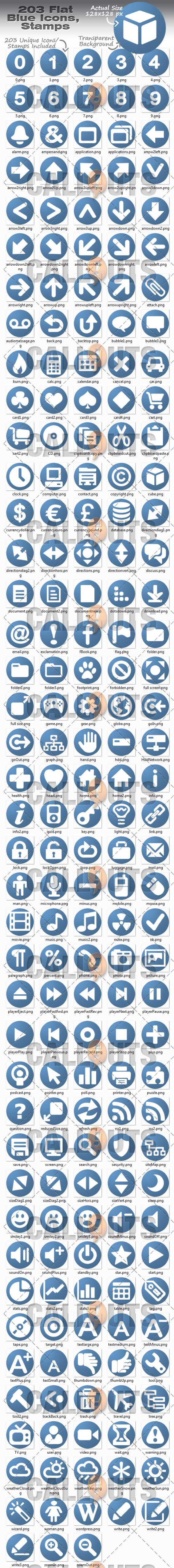 Flag Blue Icons Overview