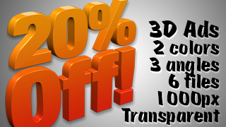 3D Advertising Graphic – 20 Percent Off