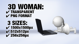 Woman with Notebook 3 3D