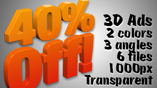 3D Advertising Graphic – 40 Percent Off
