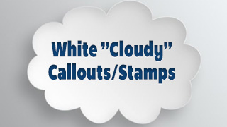 White Cloudy Callouts Stamps