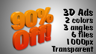 3D Advertising Graphic – 90 Percent Off