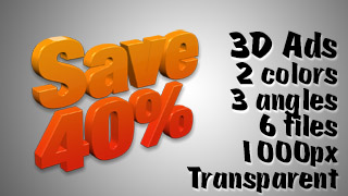 3D Advertising Graphic – Save 40 Percent