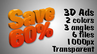3D Advertising Graphic – Save 60 Percent