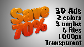 3D Advertising Graphic – Save 70 Percent