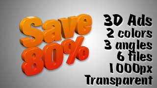 3D Advertising Graphic – Save 80 Percent