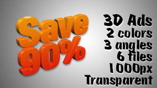 3D Advertising Graphic – Save 90 Percent