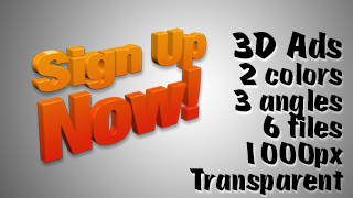 3D Advertising Graphic – Sign Up Now