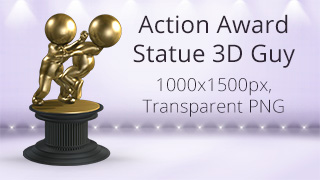 Action Award Statue 3D Guy
