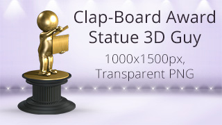 Clapboard Award Statue 3D Guy