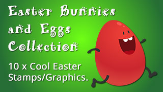 Easter Bunnies and Eggs Graphics, Stamps