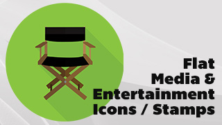 Flat Media and Entertainment Icons, Stamps