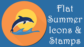 Summer Icons Stamps Flat