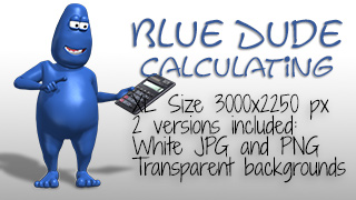 Blue Dude Using Calculator