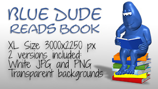 Blue Dude Reading Book
