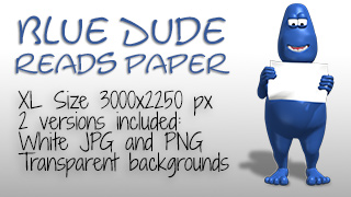 Blue Dude Reading Paper