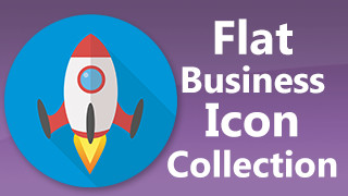 Business Icons Stamps Flat Round