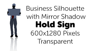 Holding Sign Business Silhouette Mirror Transparent