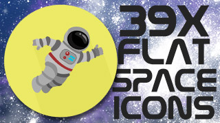 Space Icons Stamps Flat Round