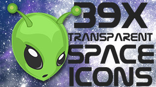 Space Icons Stamps Transparent