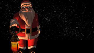 3D Santa with Lamp Dark Snowy Background