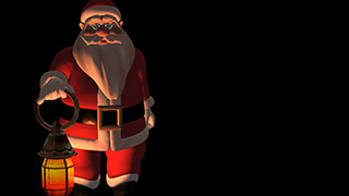 3D Santa with Lamp Dark Background