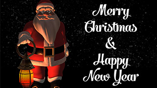 3D Santa with Lamp Dark Snowy background Merry Christmas Greeting