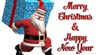 3D Santa with Christmas Gift Merry Christmas Greeting