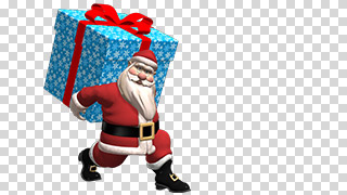 3D Santa with Christmas Gift Transparent Background