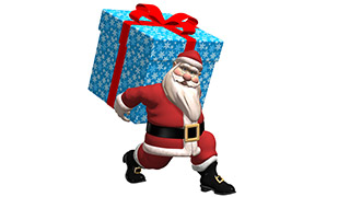 3D Santa with Christmas Gift White Background
