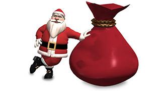 3D Santa with Sack White Background