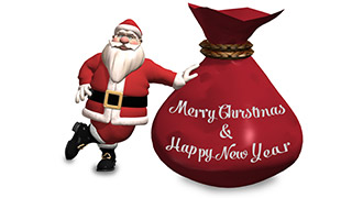 3D Santa with Sack Merry Christmas Greeting