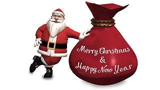 3D Santa with Sack Merry Christmas Greeting