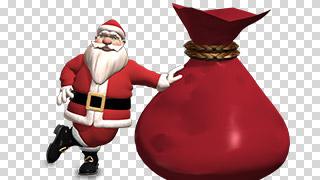 3D Santa with Sack Transparent Background