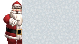 3D Santa with Sign White Background