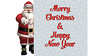 3D Santa with Sign Merry Christmas Greeting