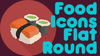 Food Icons Stamps Flat Round