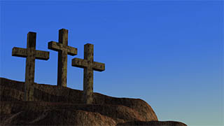 3 Crosses on Hill Dawn Illustrated Background