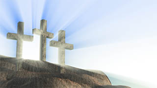 3 Crosses on Hill Light Rays Illustrated Background