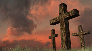 3 Crosses Red Sky Illustrated Background