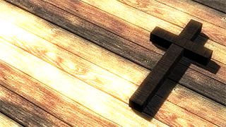 Cross on Table Illustrated Background