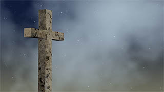Worn Cross Dark Sky Illustrated Background