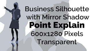 Business Woman Point Explain Silhouette Mirror Transparent