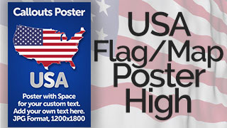 USA Map with Flag Poster Graphic High