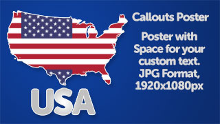 USA Map with Flag Poster Graphic Wide