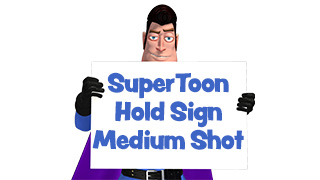 SuperToon 3D Holding Sign Medium Shot
