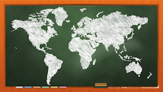 Chalkboard World Map Graphic Background