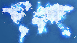 Icy Blue World Map Graphic Background
